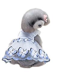 abordables -Animaux de Compagnie Robe Vêtements pour Chien Voiles & Transparence / Fleur / Floral / Botanique Bleu / Rose Coton / Polyester / Filet
