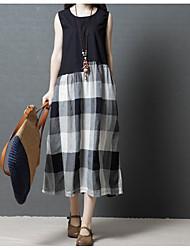 abordables -Mujer Corte Swing / Dos Piezas Vestido Bloques Midi