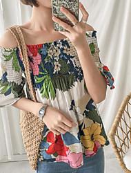 abordables -Tee-shirt Femme, Fleur Basique