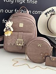 baratos -Mulheres Bolsas PU Leather Conjuntos de saco 3 Pcs Purse Set Miçangas / Urso Verde / Preto / Rosa