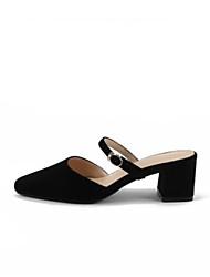 abordables -Femme Chaussures Cuir Eté Confort Sabot & Mules Talon Bottier Blanc / Noir