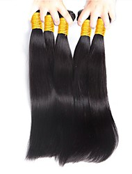 cheap -4 Bundles Brazilian Hair Straight Human Hair One Pack Solution Human Hair Weaves Newborn / Soft / Sexy Lady Natural Color Human Hair Extensions Women's