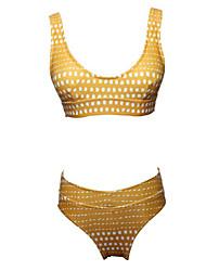 preiswerte -Damen Bikinis - Rückenfrei Ringer-Rücken-Kleid Druck, Punkt Einfarbig Cheeky-Bikinihose