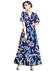 Недорогие -Жен. Шинуазери (китайский стиль) Оболочка Платье - Геометрический принт, С принтом Макси