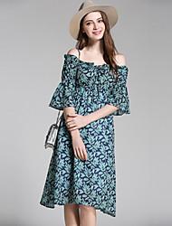 baratos -Mulheres Vintage / Moda de Rua Chifon Vestido - Frufru / Com Transparência / Bordado, Floral / Geométrica Altura dos Joelhos