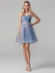 cheap -Ball Gown / Fit & Flare Sweetheart Neckline Short / Mini Tulle Cocktail Party / Homecoming / Holiday Dress with Sequin / Side Draping by