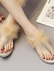 baratos -Mulheres Sapatos Couro Ecológico Primavera Verão Tira em T Sandálias Sem Salto Roxo / Amêndoa