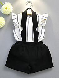 economico -Bambino (1-4 anni) Da ragazza In bianco e nero Tinta unita / A strisce Senza maniche Completo