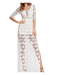 cheap -Women's Basic / Street chic Tunic Dress - Solid Colored Lace / Cut Out / Patchwork