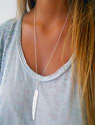 preiswerte -Anhängerketten - Blattform, Feder Einfach, Europäisch, Modisch Gold, Silber 70 cm Modische Halsketten Für Alltag