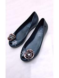 abordables -Femme Chaussures PU de microfibre synthétique Eté Confort Ballerines Talon Plat pour De plein air Blanc / Noir