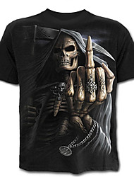 cheap -Men's Skull / Exaggerated Plus Size Cotton T-shirt - Color Block / Skull / Portrait Print / Short Sleeve