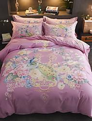 cheap -Duvet Cover Sets Floral Poly / Cotton Jacquard 4 Piece / 4pcs (1 Duvet Cover, 1 Flat Sheet, 2 Shams)