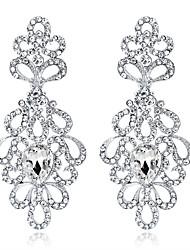 preiswerte -Kristall Kronleuchter Tropfen-Ohrringe - Blume Modisch, Elegant Silber Für Hochzeit / Party / Abend