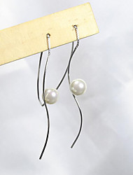 cheap -Women's Drop Earrings - Pearl, S925 Sterling Silver, Freshwater Pearl Simple, Korean, Sweet Silver For Gift / Daily