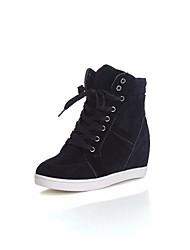 Недорогие -Жен. Обувь Полотно Весна Удобная обувь Кеды Туфли на танкетке Круглый носок Черный / Красный