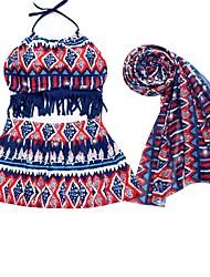 baratos -Mulheres Biquíni - Listrado / Geométrica / Estampa Colorida, Frente Única Cintura Alta