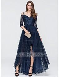 baratos -Linha A Decote V Assimétrico Renda / Tule Evento Formal Vestido com Miçangas / Apliques de TS Couture®