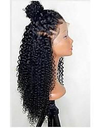 cheap -Synthetic Lace Front Wig Curly Layered Haircut 150% Density Synthetic Hair With Baby Hair / Heat Resistant / Natural Hairline Black /