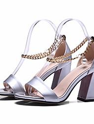 preiswerte -Damen Schuhe Leder Nappaleder Sommer Pumps Komfort Sandalen Blockabsatz für Normal Silber Burgund