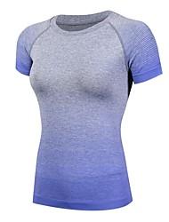 お買い得  -女性用 ランニングTシャツ 半袖 ライトウェイト, 速乾性, 伸縮性 Tシャツ のために ピラティス / エクササイズ&フィットネス / 戸外運動 ポリエステル, ナイロン, スパンデックス フクシャ / ブルー S / M / L