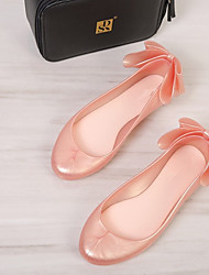 abordables -Femme Chaussures PVC Printemps été Ballerine Sandales Talon Plat Bout ouvert Noeud Blanc / Rose / Vin