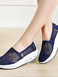 baratos -Mulheres Sapatos Malha Respirável Tecido de Poliamida Verão Conforto Mocassins e Slip-Ons Plataforma para Casual Preto Bege Azul