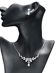 cheap -Women's Cubic Zirconia Jewelry Set - Leaf, Drop Fashion, Elegant Include Drop Earrings / Pendant Necklace White For Wedding / Party