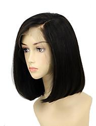 billige -Remy hår Blonde Front Paryk Indisk hår Lige Paryk Bob frisure / Kort bob / Side del 130% Silkeagtig / Hot Salg / Natural Hairline Naturlig Dame Kort Blondeparykker af menneskehår