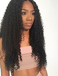 Недорогие -человеческие волосы Remy Лента спереди Парик стиль Бразильские волосы Кудрявый Парик 150% Плотность волос с детскими волосами 100% девственница Жен. Длинные