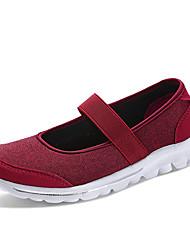 Недорогие -Жен. Обувь Тюль Весна лето Удобная обувь На плокой подошве Для прогулок На низком каблуке Круглый носок Бежевый / Серый / Винный