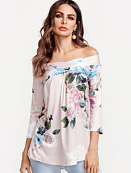 cheap -Women's Going out Boho Cotton Loose Blouse - Floral Print Off Shoulder