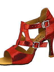 cheap -Women's Latin Shoes / Salsa Shoes Faux Leather Sandal / Heel Buckle / Ribbon Tie Customized Heel Customizable Dance Shoes Red / Blue / Golden / Performance / Professional