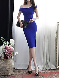 Недорогие -Жен. Облегающий силуэт Платье - Однотонный До колена
