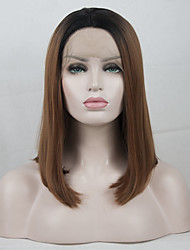 cheap -Synthetic Lace Front Wig / Ombre Matte Golden Middle Part Synthetic Hair Color Gradient / Best Quality / Middle Part Golden / Black Wig Women's Short Lace Front