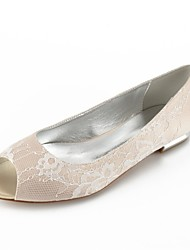 cheap -Women's Shoes Lace Summer Comfort / Ballerina Wedding Shoes Flat Heel Peep Toe Silver / Champagne / Ivory