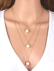 baratos -Mulheres Bola Imitação de Pérola colares em camadas  -  Clássico / Fashion Dourado / Prata 48cm Colar Para Diário / Mulheres