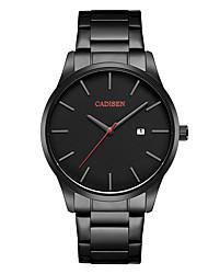baratos -CADISEN Homens Relógio de Pulso Chinês Calendário / Impermeável / Relógio Casual Aço Inoxidável Banda Minimalista / Fashion Preta