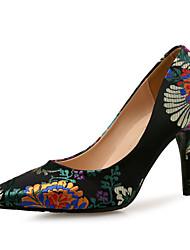 Недорогие -Жен. Обувь Шёлк Весна лето Туфли лодочки Обувь на каблуках На шпильке Черный / Пурпурный / Свадьба / Для вечеринки / ужина