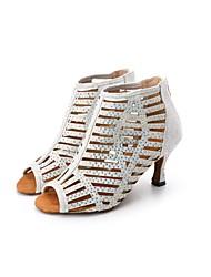 cheap -Women's Latin Shoes Sparkling Glitter Sandal / Heel Rhinestone Flared Heel Customizable Dance Shoes Silver / Black / Silver / Pink