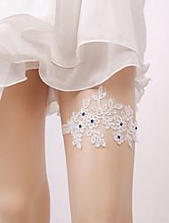 baratos -Renda De Renda Wedding Garter  -  Pedrarias / Floral / Elástico Ligas Casamento / Festas & Noite