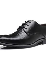 Недорогие -Муж. обувь Кожа Весна Осень Формальная обувь Туфли на шнуровке Оборки сбоку для Свадьба Для вечеринки / ужина Черный Желтый Красный