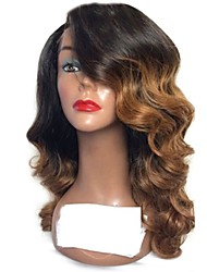 cheap -Remy Human Hair Lace Front Wig Brazilian Hair Body Wave Wig Layered Haircut 130% Ombre Hair / Dark Roots Auburn Women's Long Human Hair Lace Wig