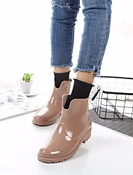 Недорогие -Жен. Обувь КожаПВХ Весна Резиновые сапоги Ботинки На низком каблуке Черный / Хаки / Вино