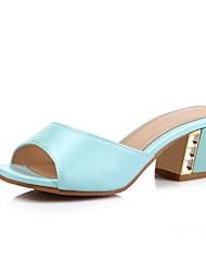 abordables -Mujer Zapatos Purpurina / Semicuero Primavera verano Confort Sandalias Tacón Cuadrado Punta abierta Beige / Azul / Rosa / Fiesta y Noche
