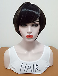 cheap -Synthetic Wig Straight Side Part Synthetic Hair Women / Highlighted / Balayage Hair / With Bangs Brown Wig Women's Short Natural Wigs