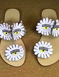 Недорогие -Жен. Обувь Свиная кожа Весна лето Удобная обувь Сандалии На плоской подошве Круглый носок для Повседневные Белый Черный