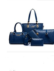 baratos -Mulheres Bolsas Outros Tipos de Couro Conjuntos de saco 5 Pcs Purse Set Ziper Azul / Branco / Preto