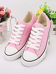 cheap -Women's Shoes Canvas Spring & Summer Comfort Sneakers Flat Heel Round Toe for Outdoor Black / Blue / Pink