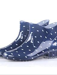 Недорогие -Жен. Кожа ПВХ  Весна лето Резиновые сапоги Ботинки На толстом каблуке Бежевый / Красный / Синий